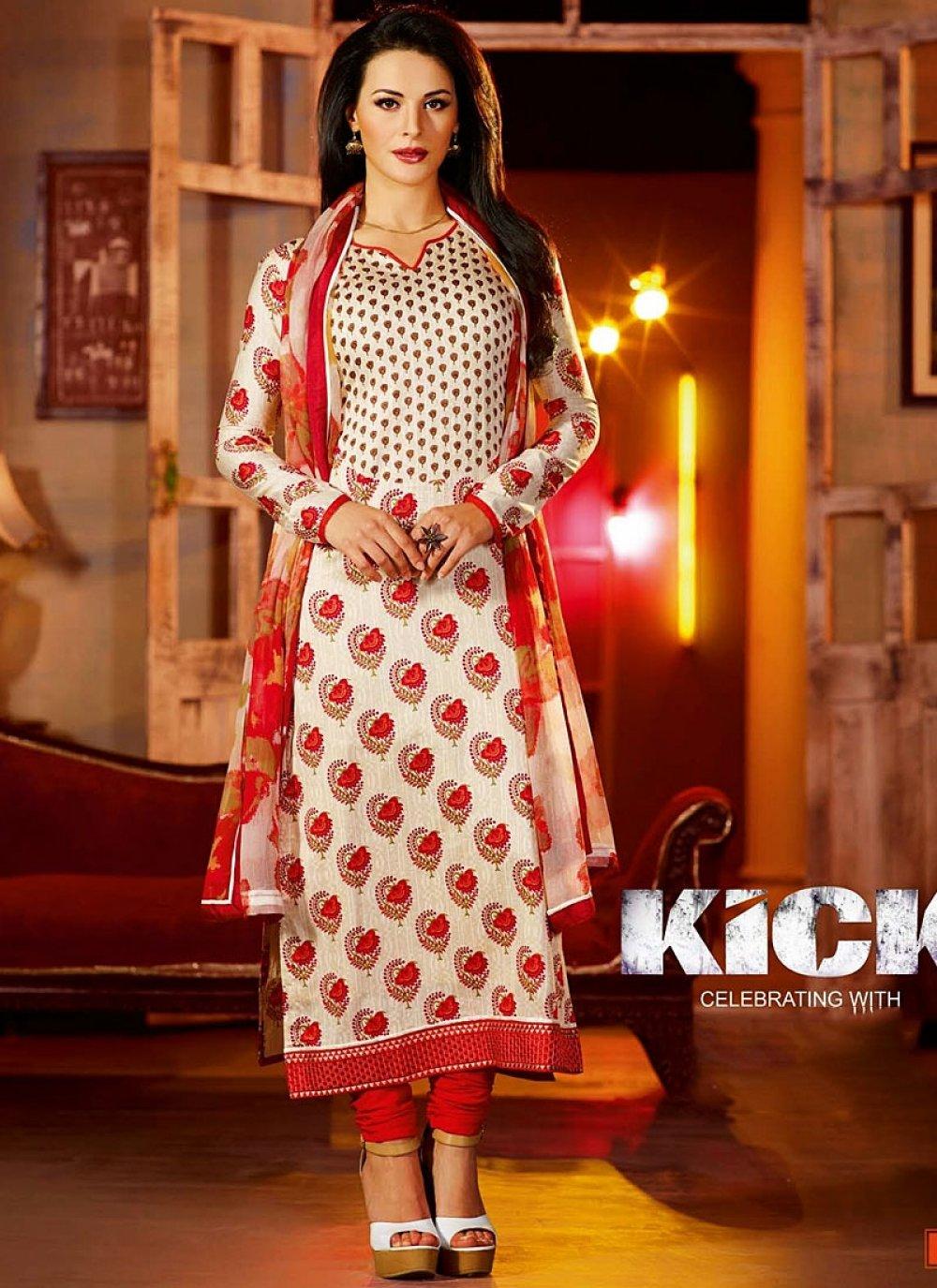 Off White Cotton Flower Print Kick Movie Churidar Suit