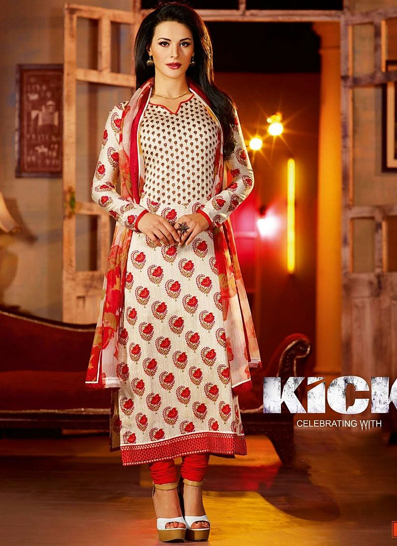 Off White Cotton Flower Print Kick Movie Churidar Suit