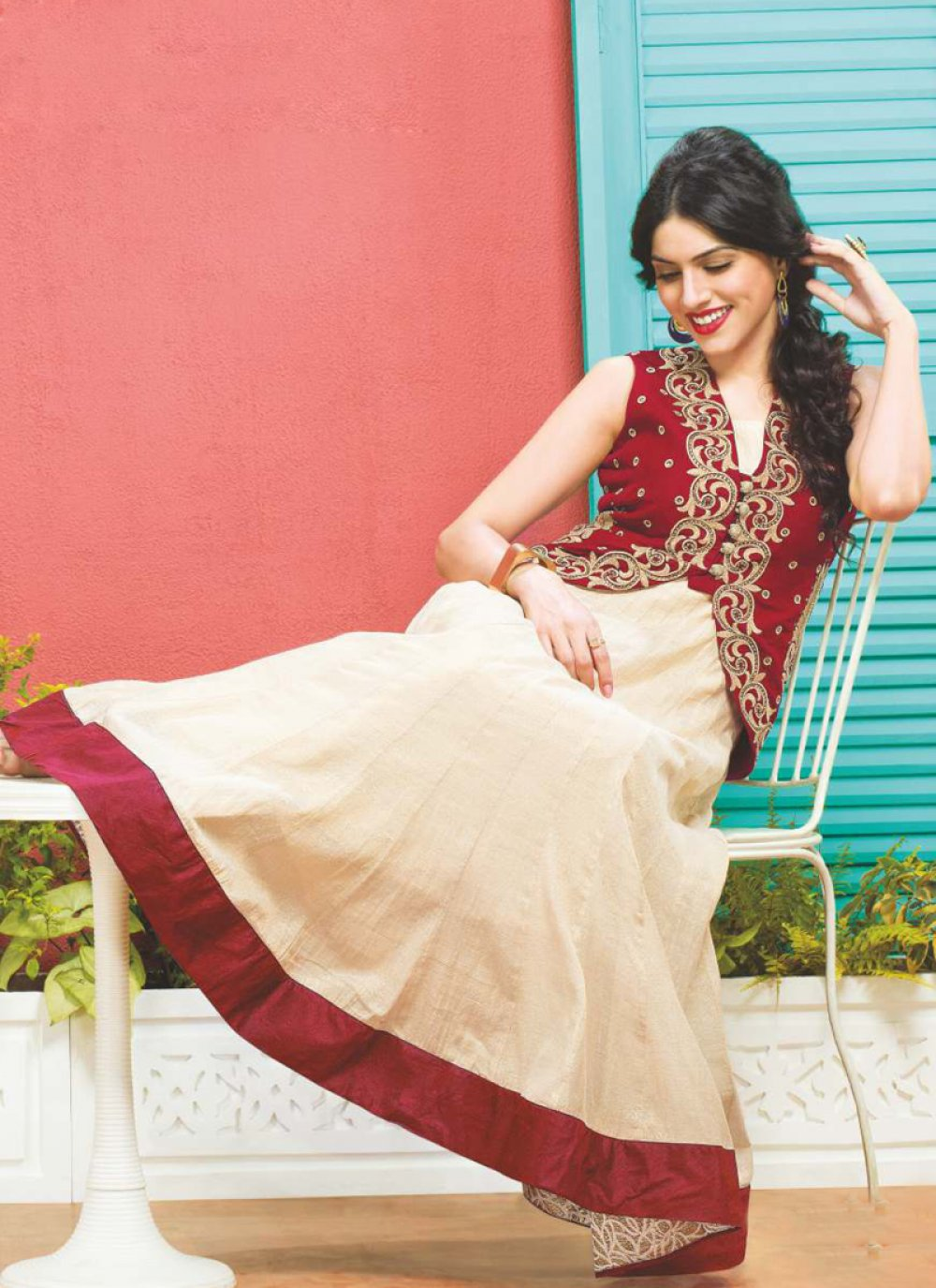 Cream And Red Dhupion Silk Anarkali Suit