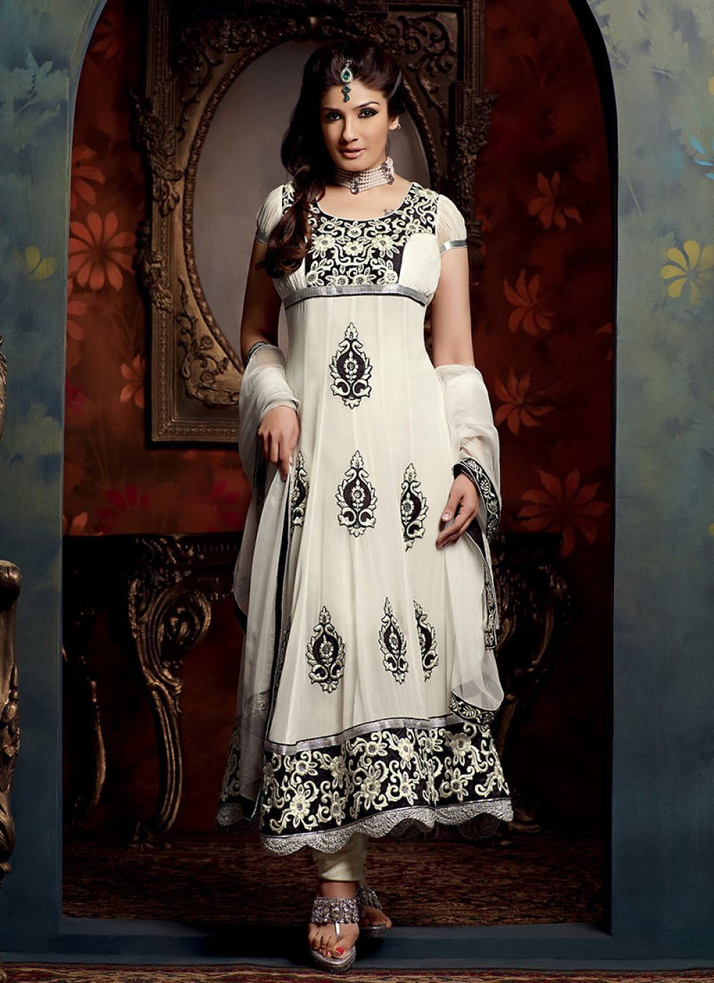 Off White Embroidered Georgette Anarkali Suit