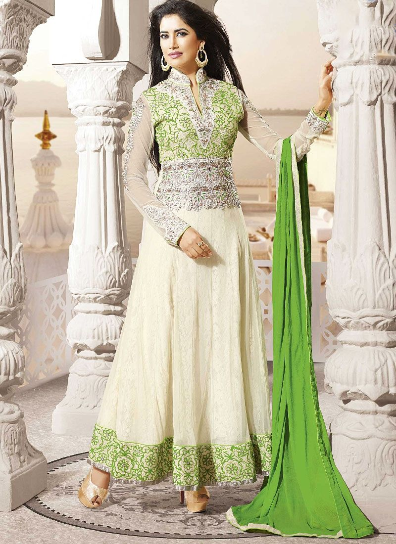 Off White Embroidered Net Long Anarkali Suit