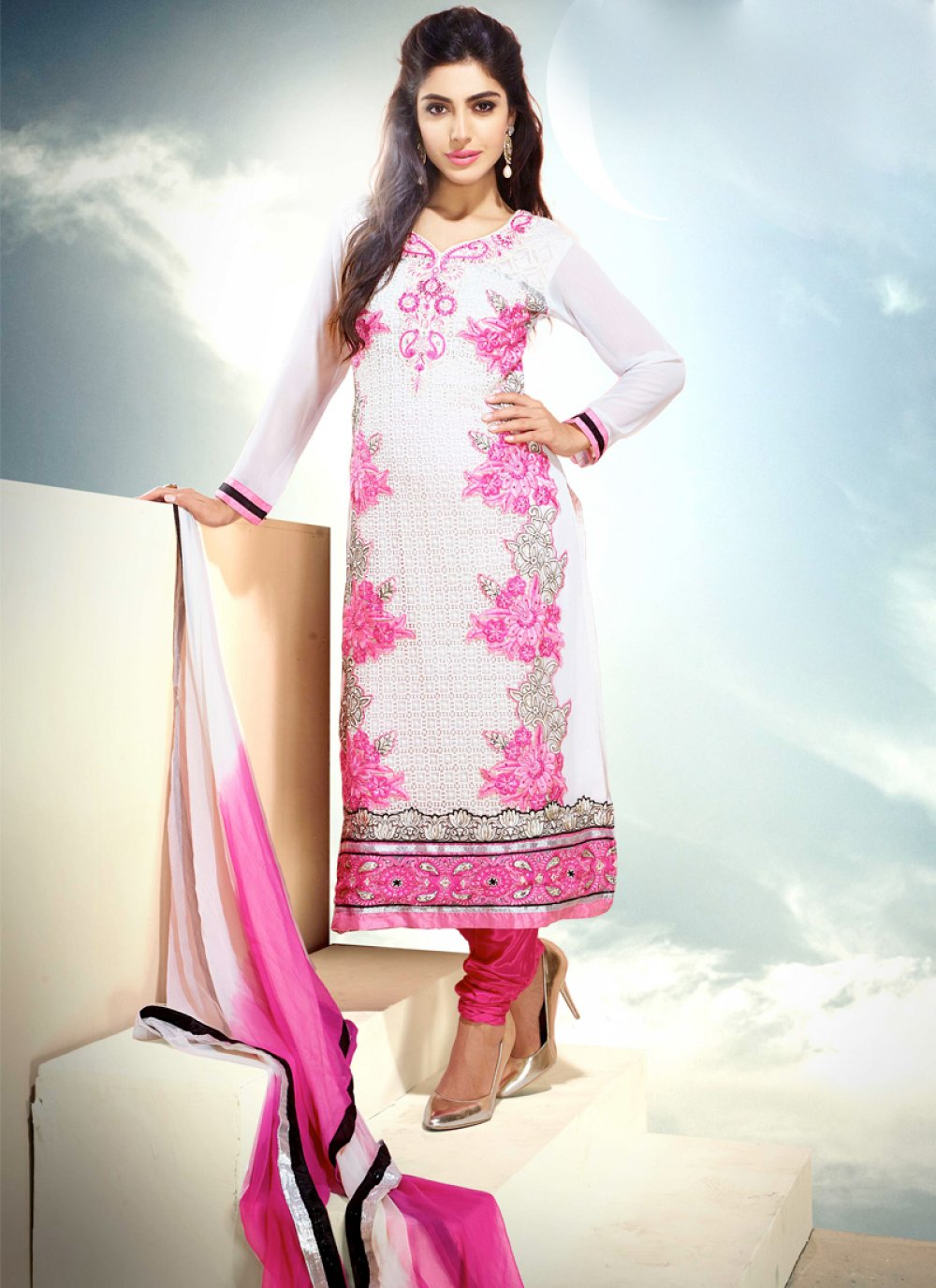 Off White Embroidery Churidar Suit