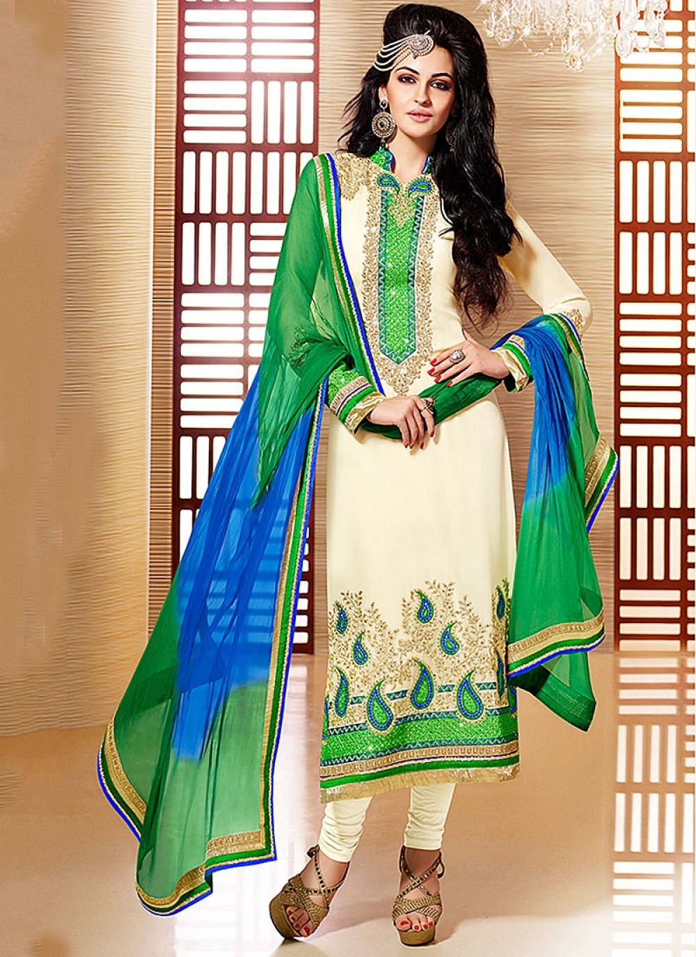 Off White Embroidery Faux Georgette Churidar Suit