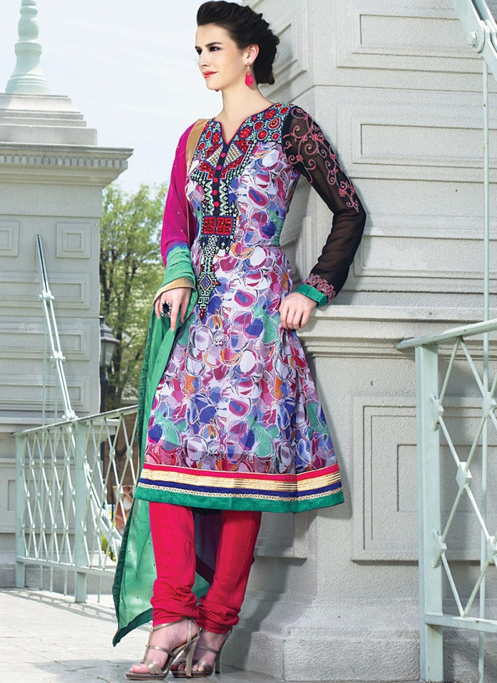 Off White Embroidery Work Faux Georgette Churidar Suit