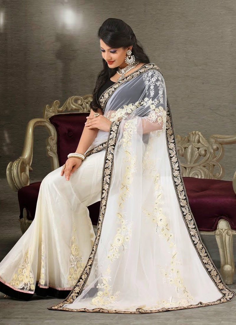 Off White Embroidery Work Net Georgette Saree