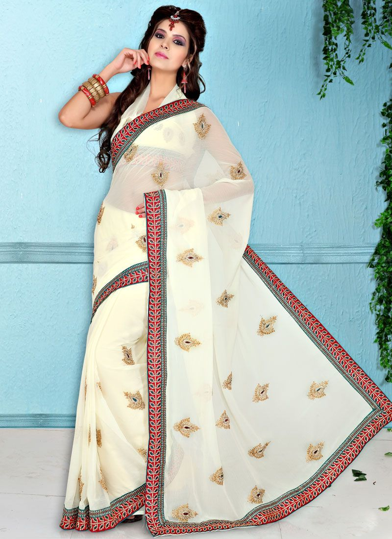 Off White Faux Chiffon Resham Work Saree