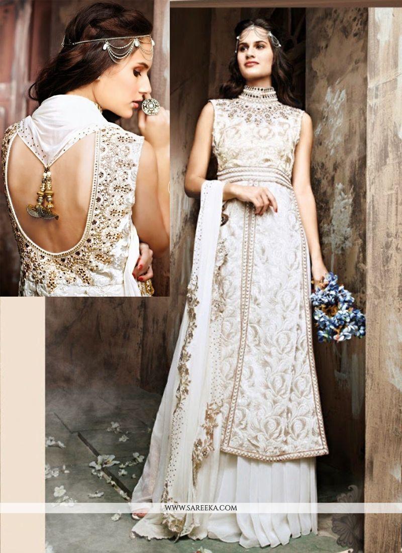 Off White Georgette And Net Designer Lehenga Choli