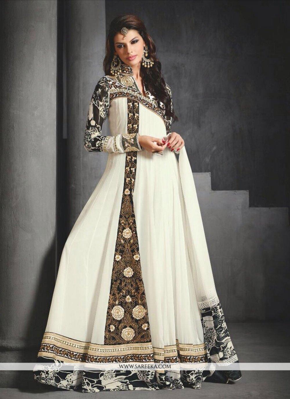 Off White Georgette Floor Lenght Anarkali Salwar Suit
