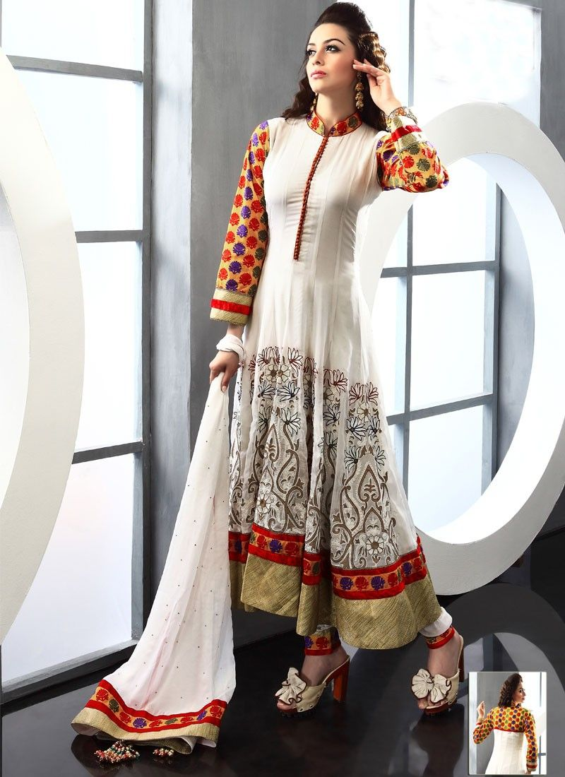 Off White Viscose Long Anarkali Suit