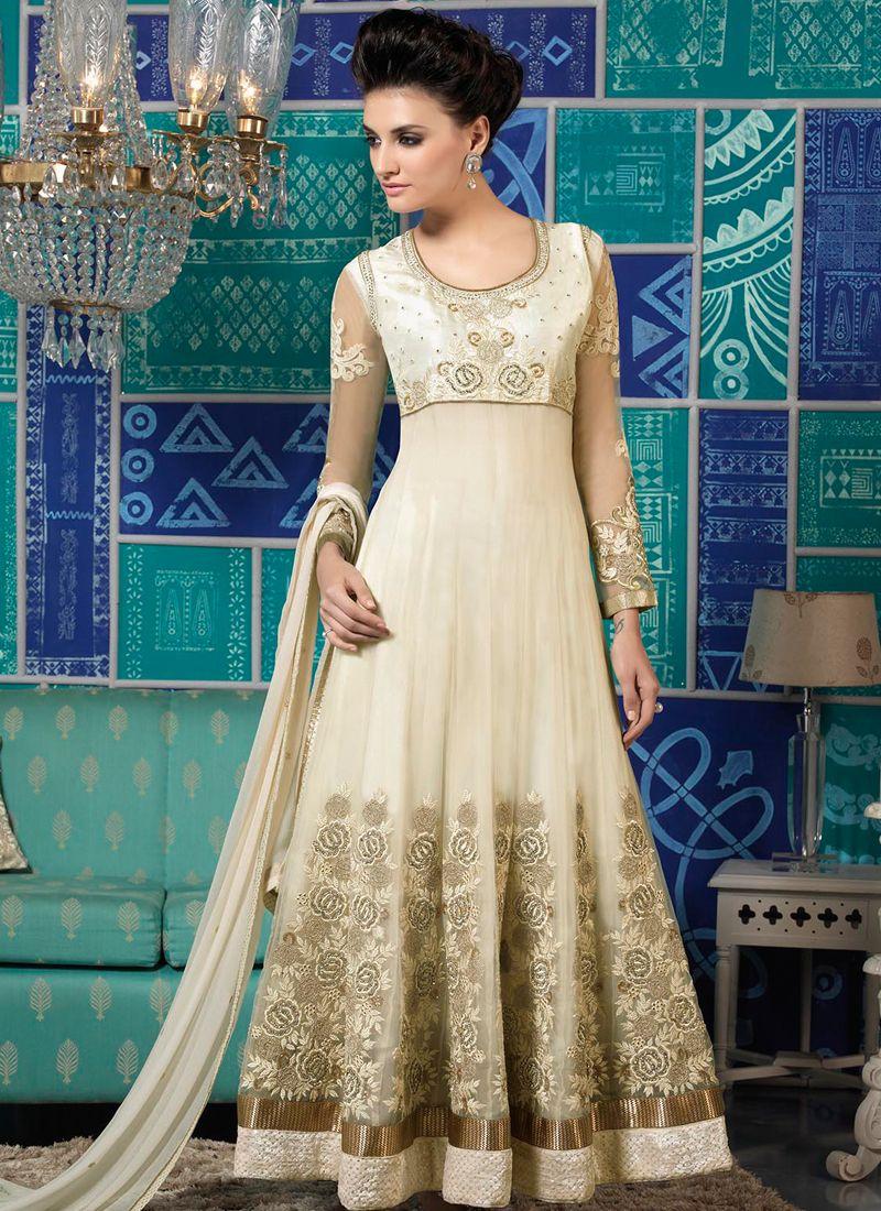 Off White Net Anarkali Salwar Kameez