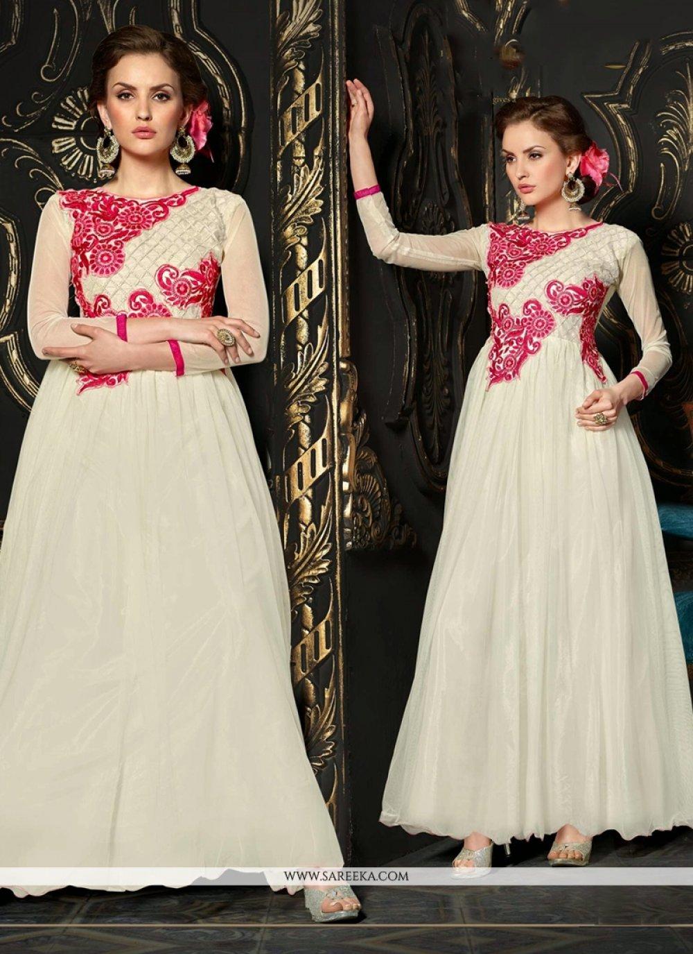 Off White Net Resham Work Anarkali Suit