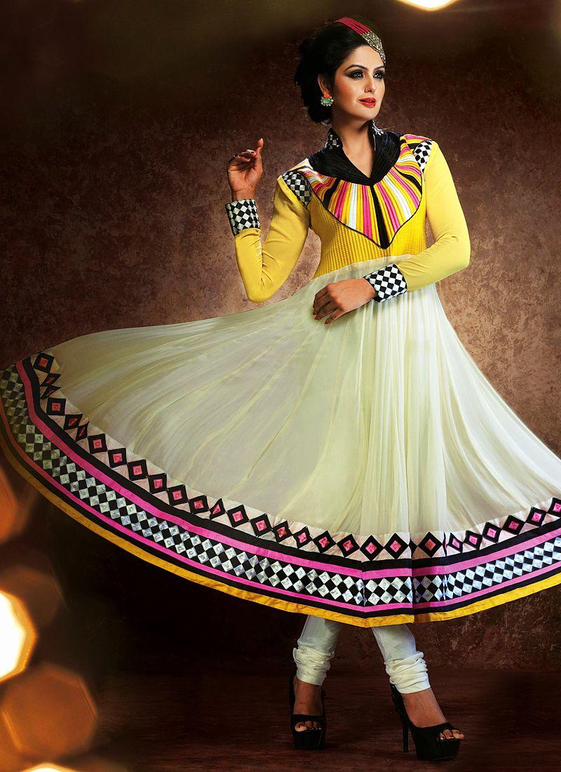 Off White Patch Border Work Anarkali Salwar Suit