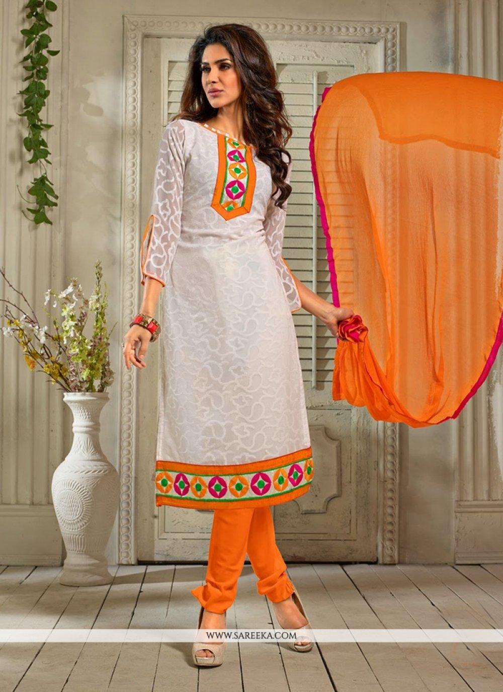 Off White Printed Jacquard Churidar Suit