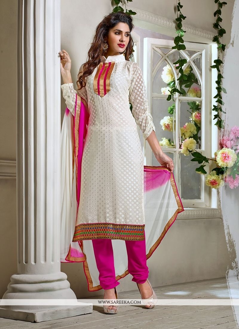Off White Pure Jacquard Churidar Salwar Suit