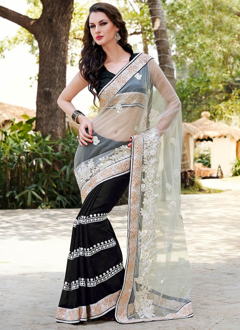 Off White Resham Patch Borde Work Net Saree