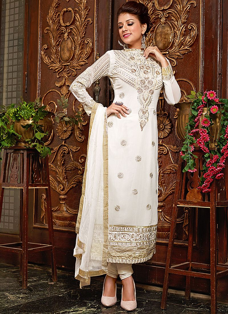 Off White Resham Work Churidar Salwar Suit