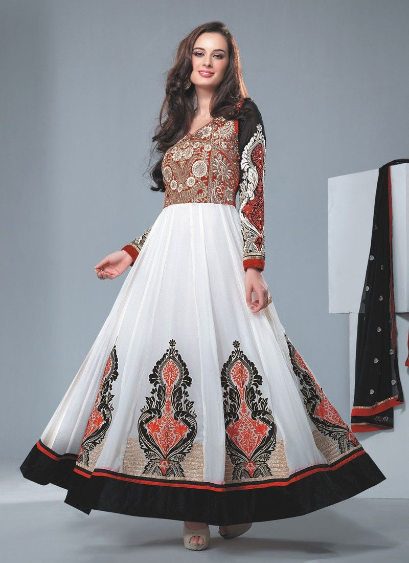 Off White Resham Work Faux Georgette Anarkali Suit
