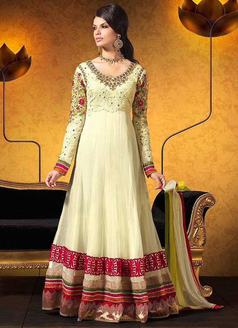Off White Resham Work Georgette Anarkali Suit