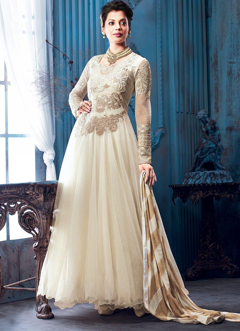 Off White Resham Work Net Georgette Anarkali Salwar Suit