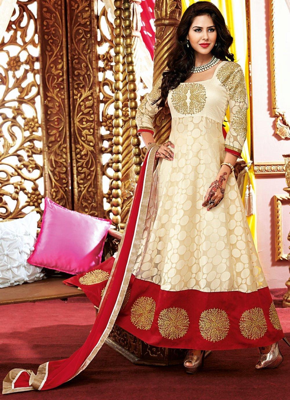 Cream Resham Work Net Georgette Anarkali Suit