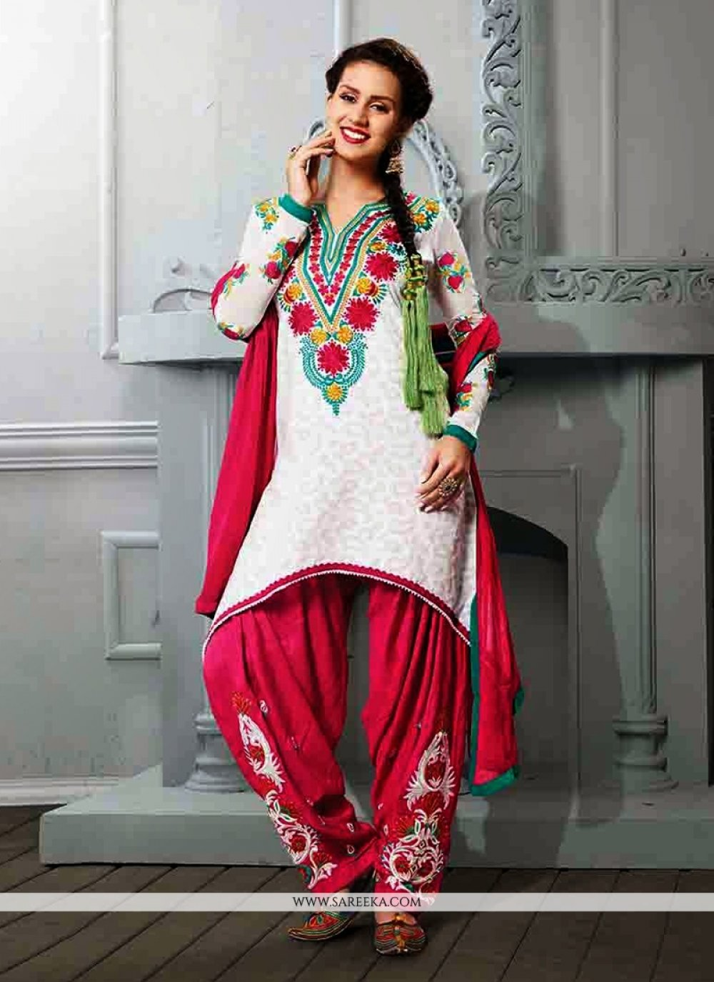 Off White Resham Work Punjabi Suit