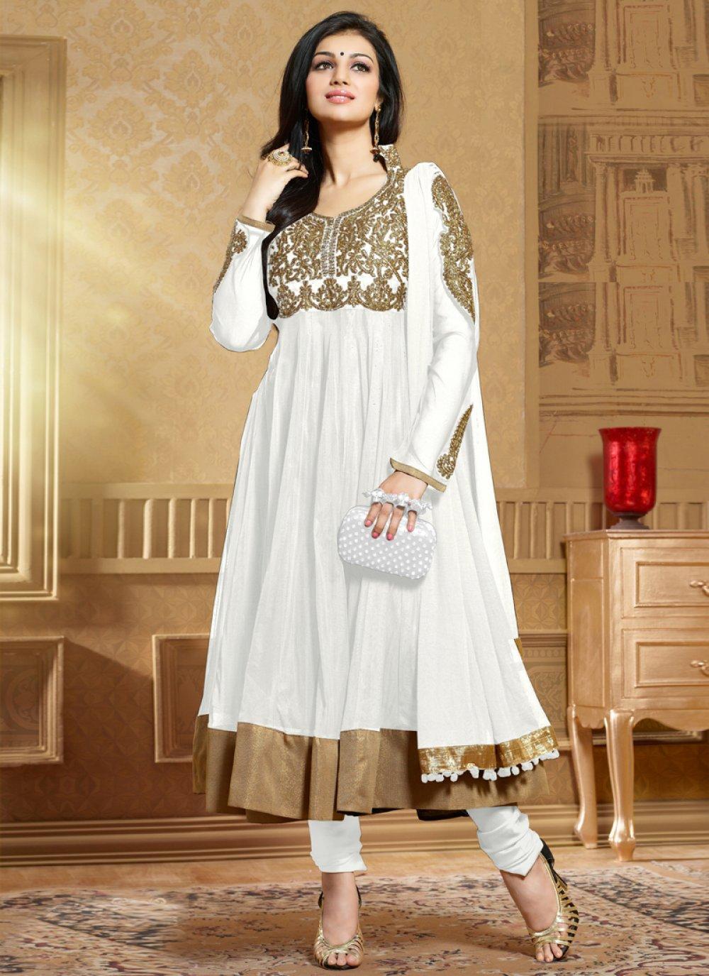 Off White Soft Net Anarkali Salwar Suit