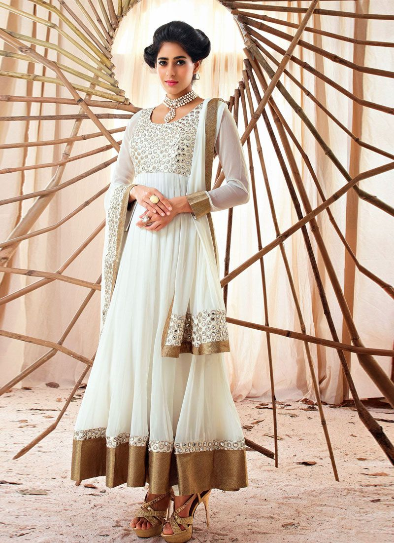 Off White Stone Work Holiday Movie Anarkali Suit