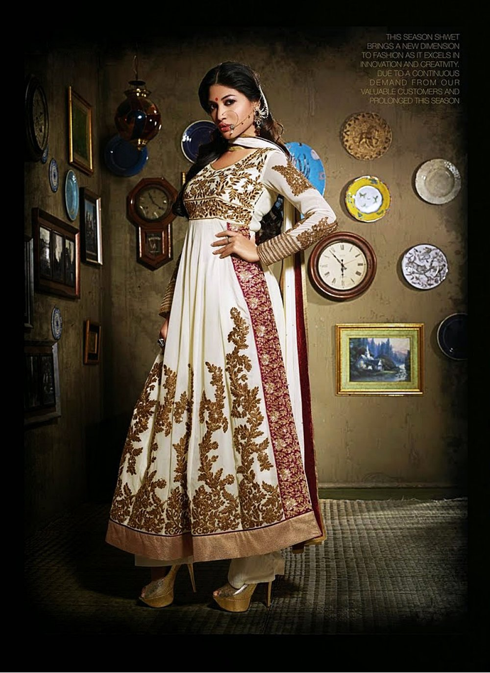 Off White Zari And Embroidery Work Anarkali Suit