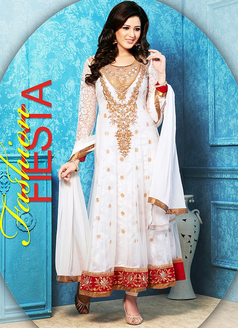Off White Zari Work Net Anarkali Salwar Kameez
