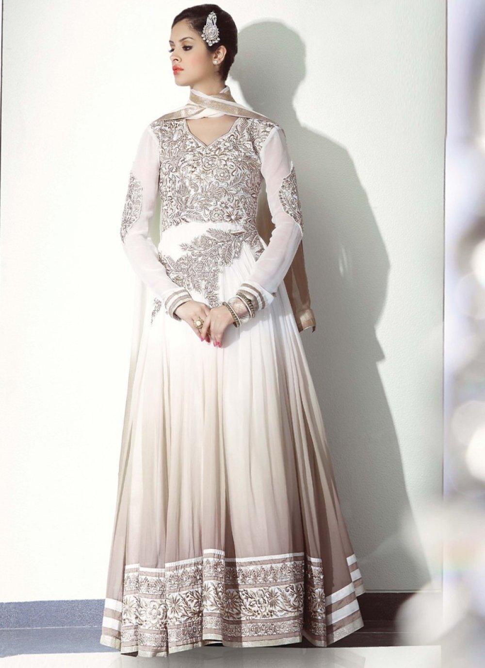 Off White Zari Work Net Designer Anarkali Suit