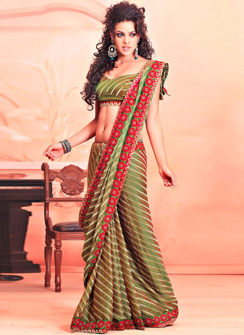 Olive Green Faux Chiffon Saree