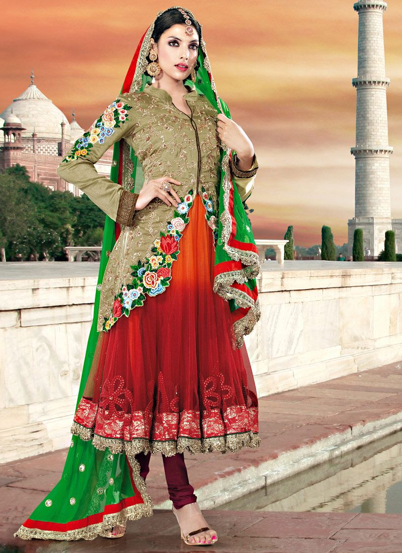Olive Green, Orange And Red Net And Art Silk Anarkali Suit