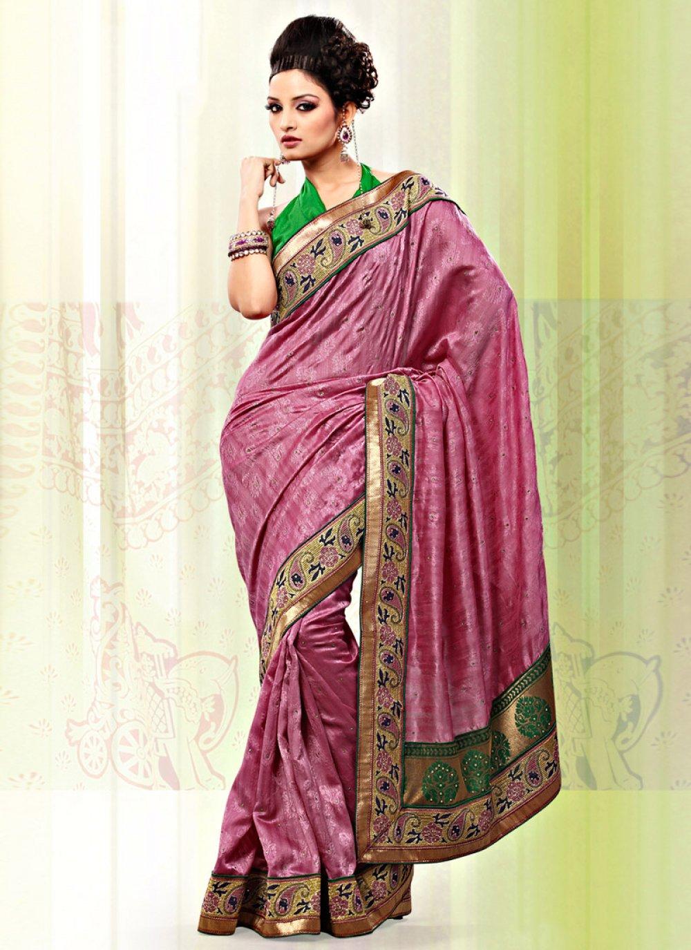 Onion Pink Art Bhagalpuri Jacquard Silk Saree