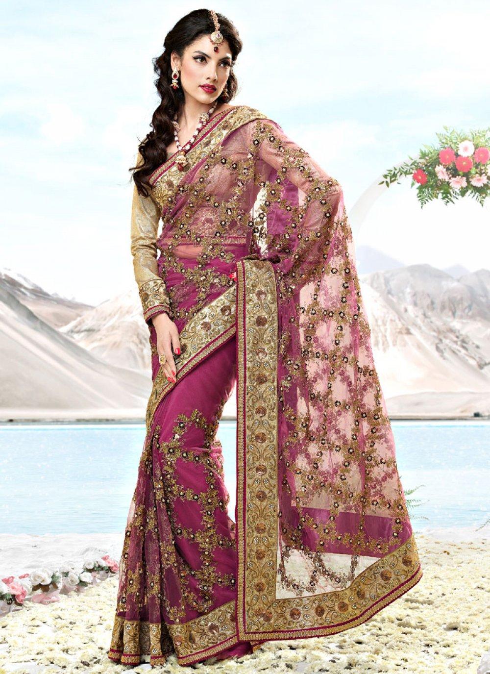 Onion Pink Net Embroidered Saree