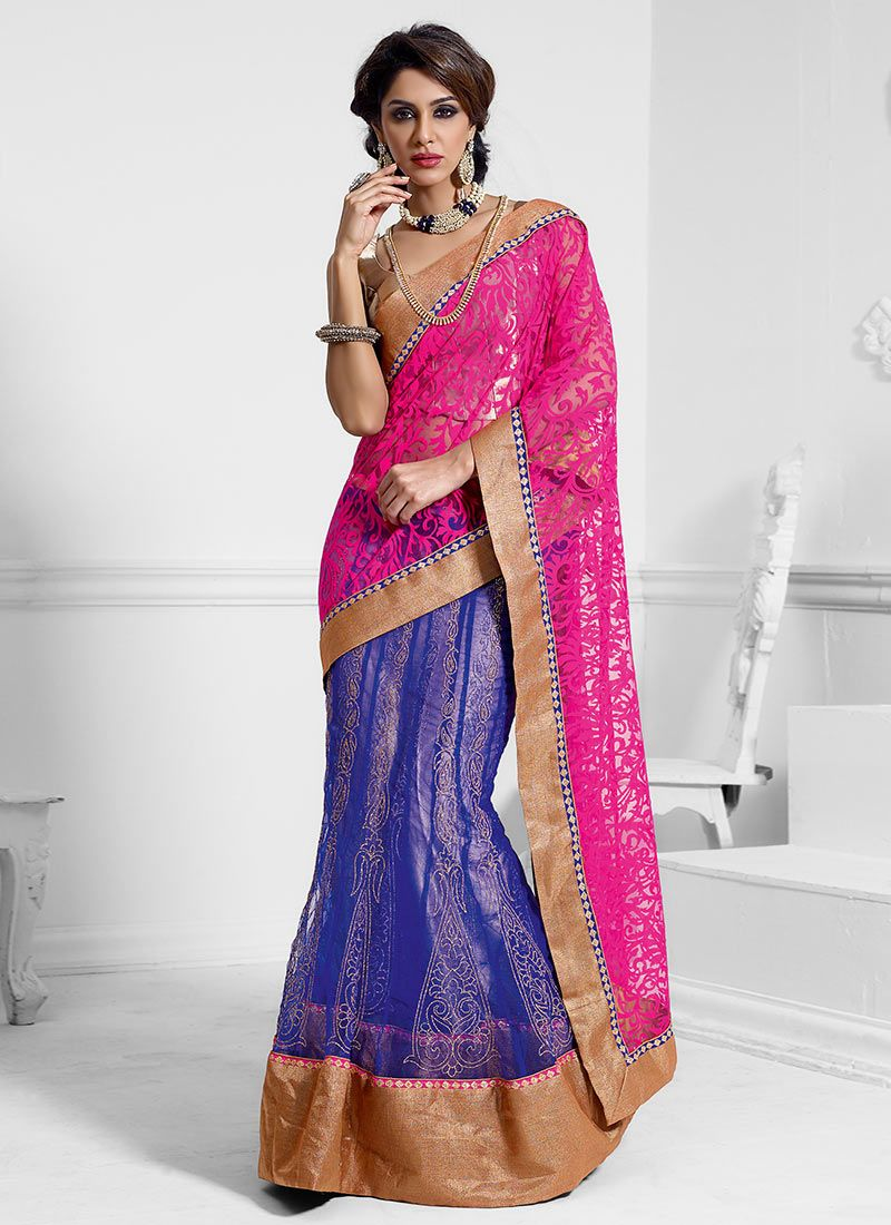 Blue And Pink Net Lehenga Saree