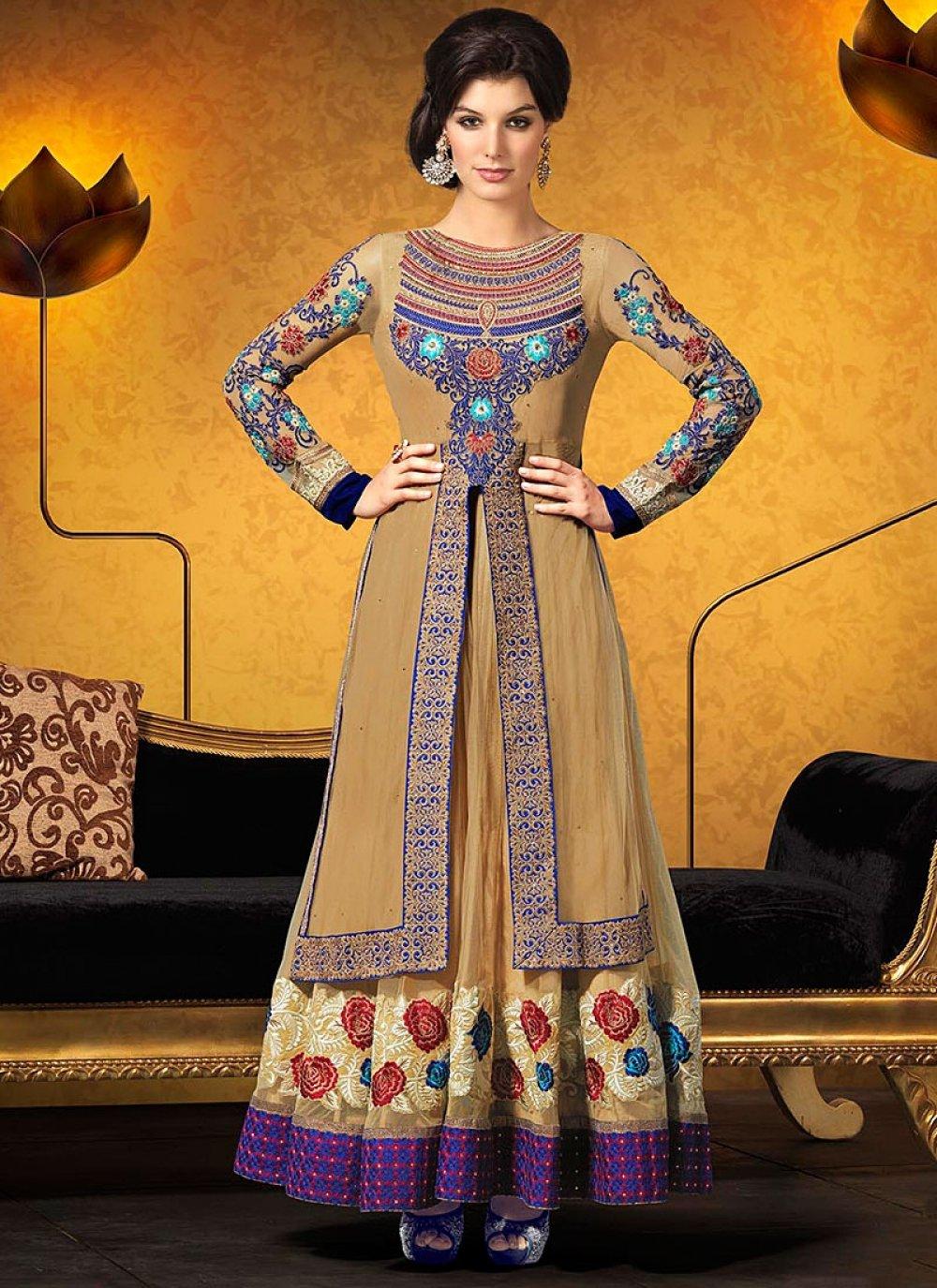 Brown Embroidery Georgette Anarkali Suit