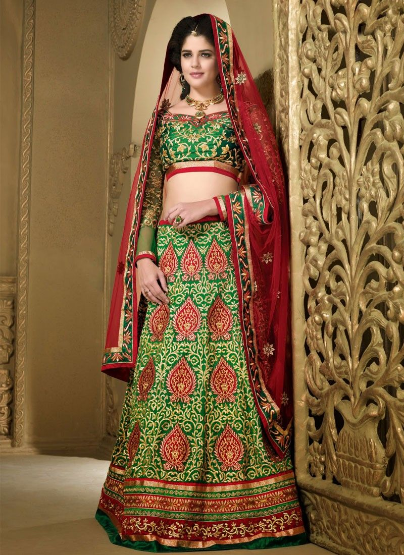 Green Silk Heavy Embroidered Lehenga Choli