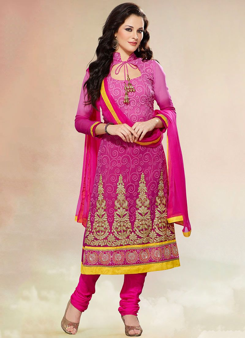 Magenta Georgette Churidar Suit
