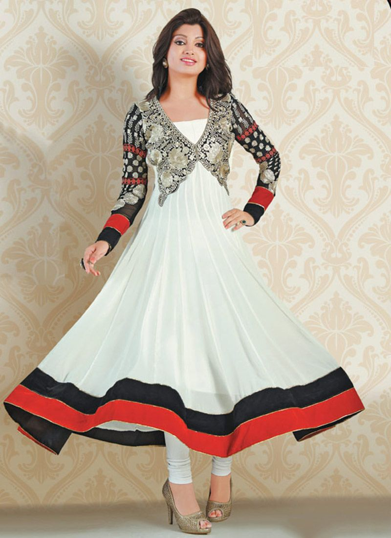 Off White Faux Georgette Anarkali Suit