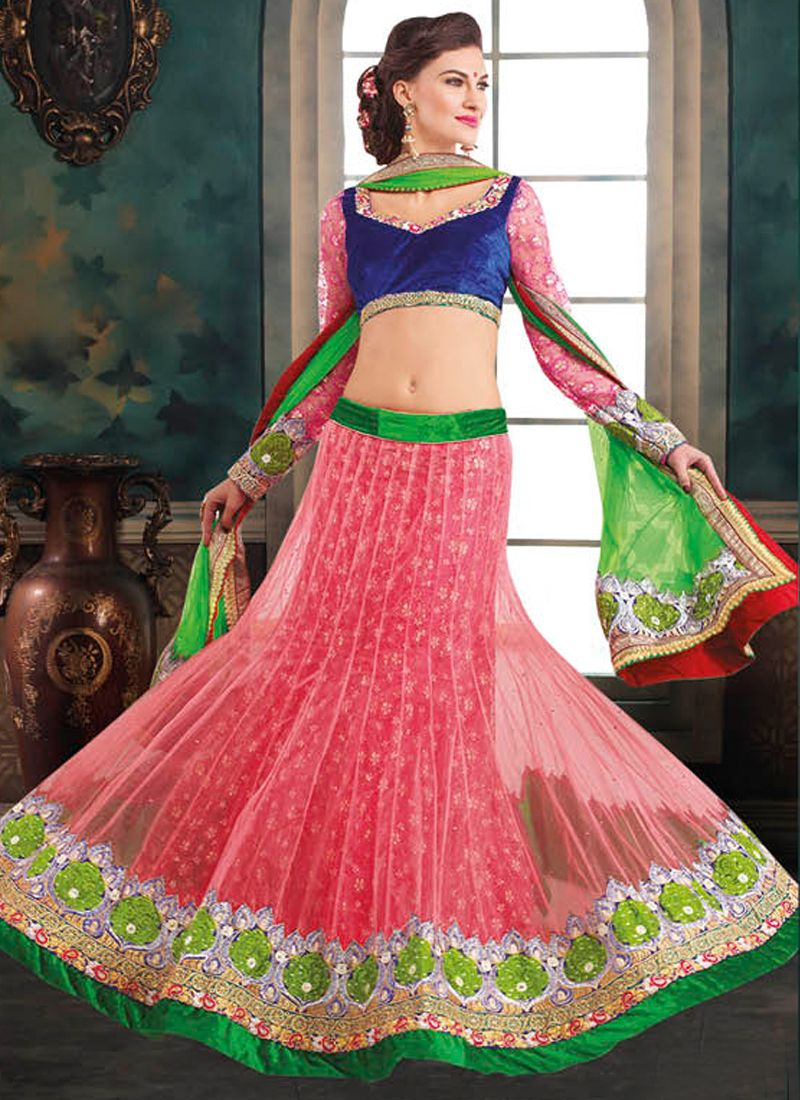Pink And Blue Net Lehenga Choli