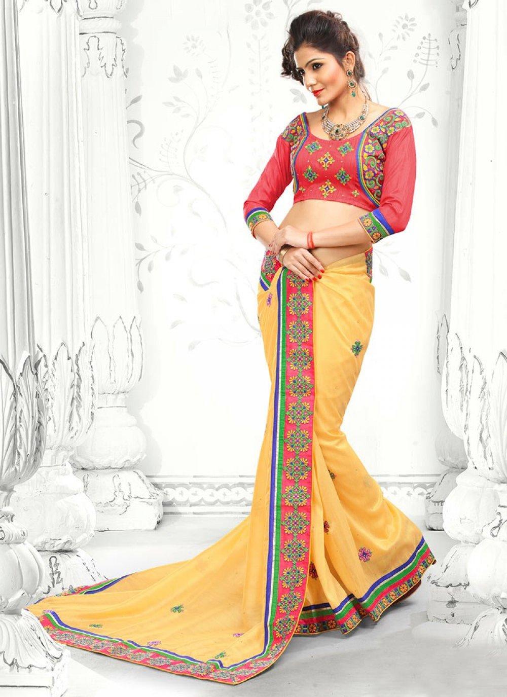 Yellow Bhagalpuri Silk Saree