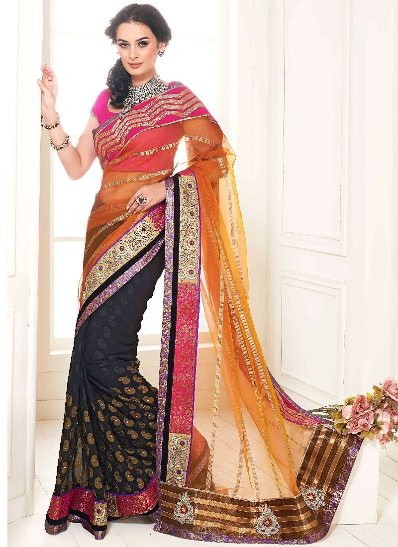 Orange And Black Embroidery Net Georgette Designer Saree