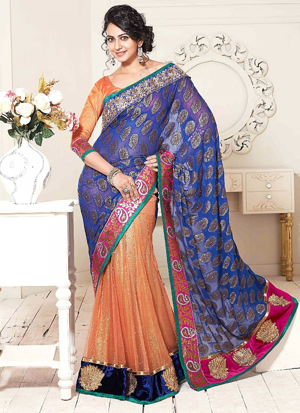 Orange And Blue Embroidery Work Net Georgette Designer Saree
