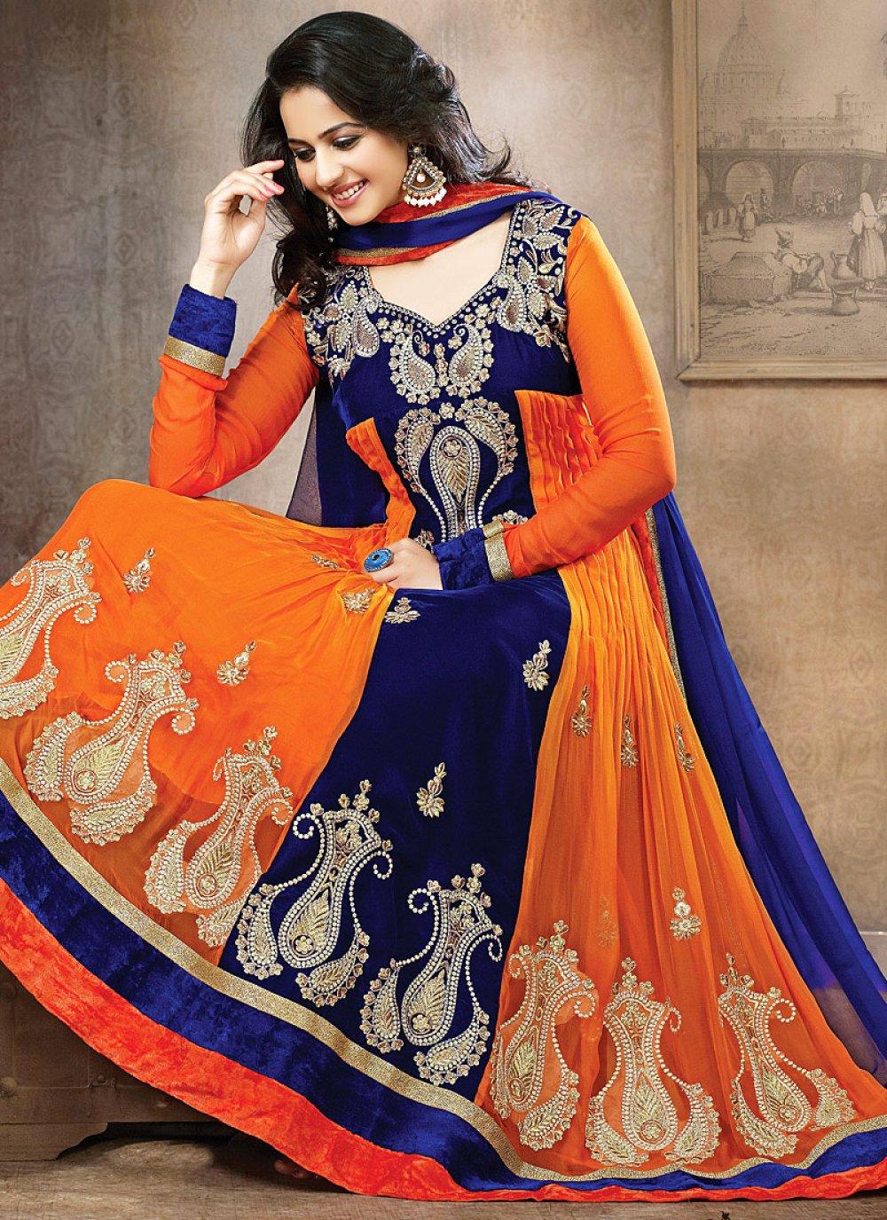 Orange And Blue Stone Work Net Anarkali Suit