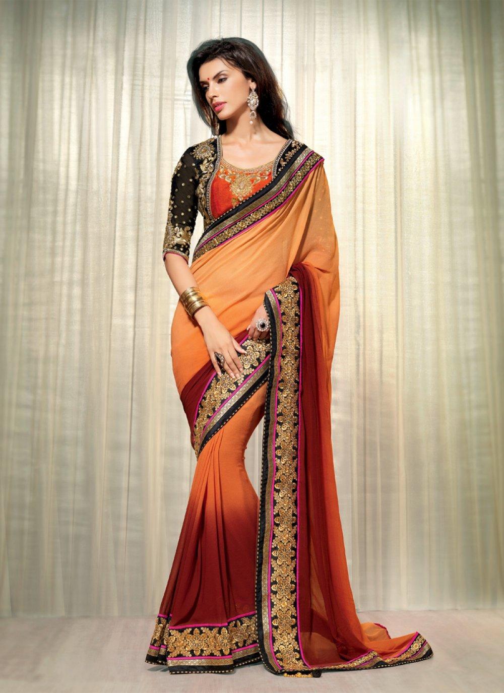 Orange And Brown Shaded Georgette Designer Saree