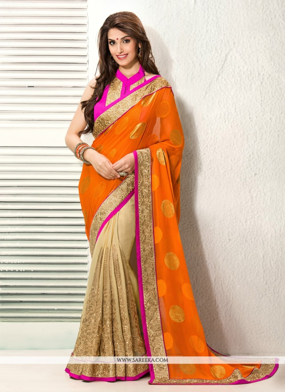 Orange And Cream Jacquard Viscose Designer Saree