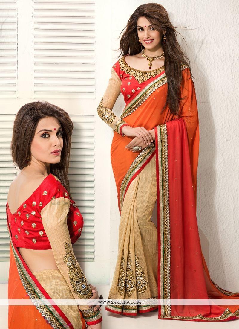 Orange And Cream Pure Georgette Designer Saree