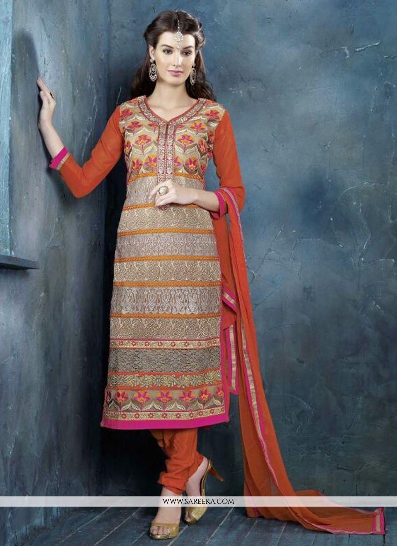 Orange And Cream Resham Work Churidar Suit