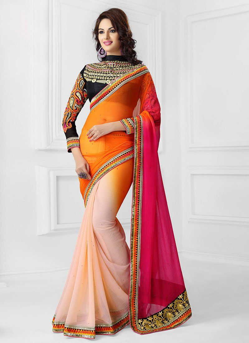 Orange And Cream Shaded Chiffon Saree