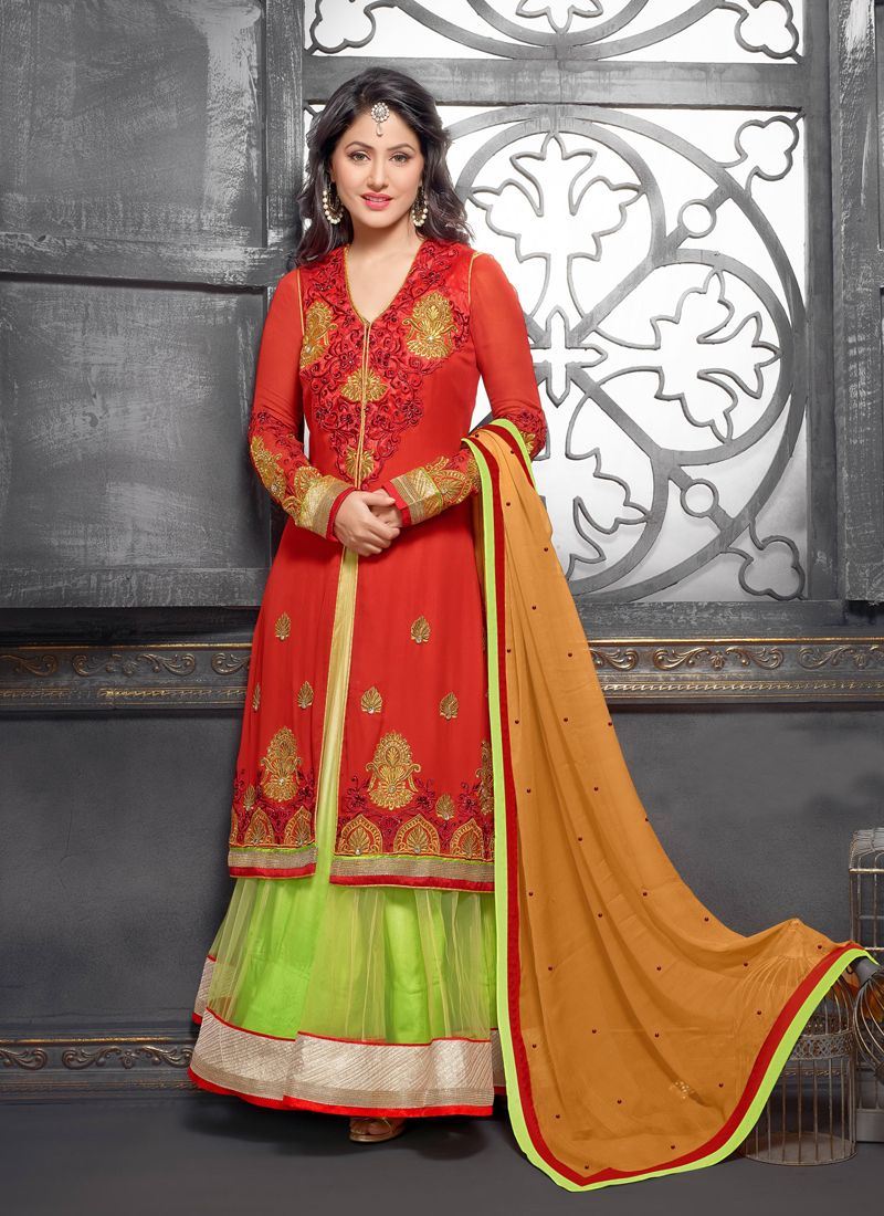 Orange And Green Designer Anarkali Suit